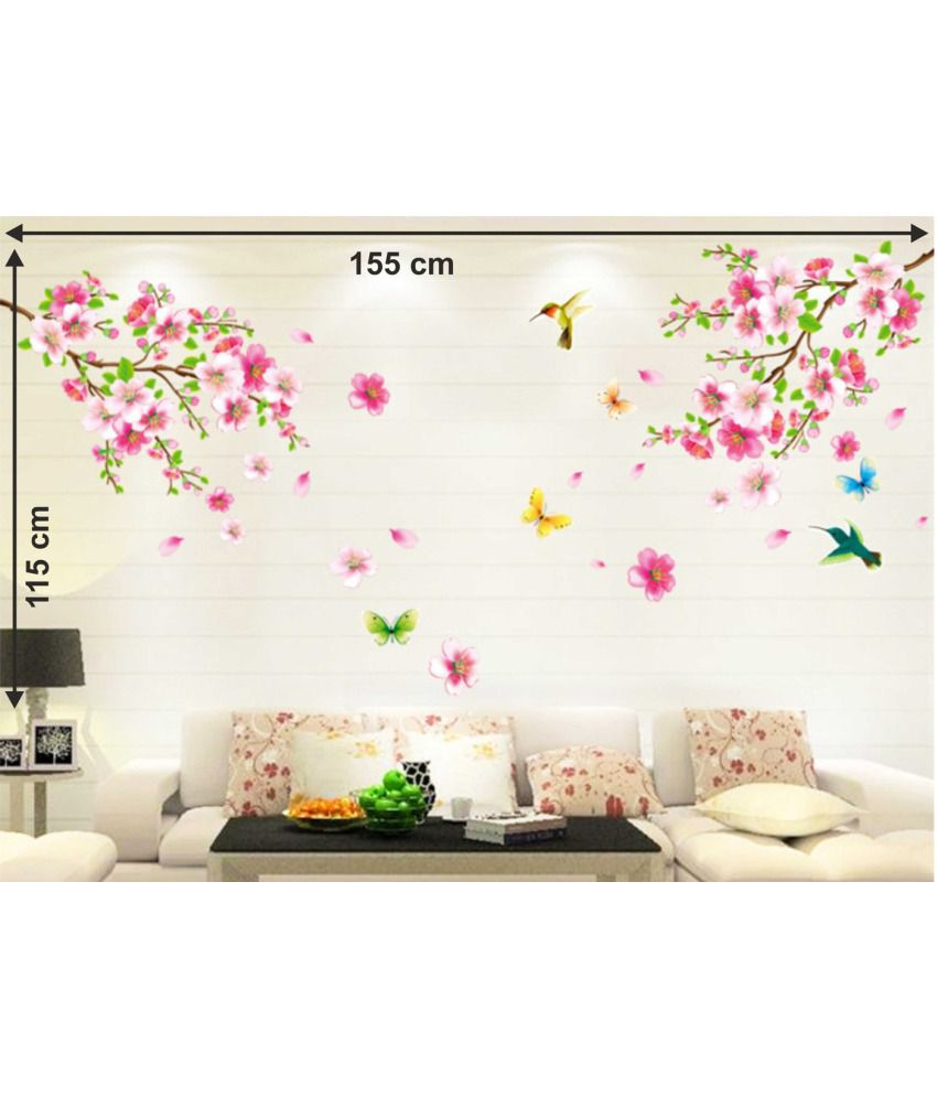 Decorate Your Home!!  Upto 80% off On Wall Decors,Clocks & Lighting By Snapdeal | StickersKart flowers & trees PVC Wall Stickers @ Rs.179