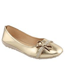 Shoe Lab Gold Ballerinas