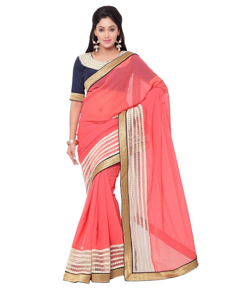 fd7a96e2e Indian Women Pink Pure Georgette Saree - Buy Indian Women Pink Pure  Georgette Saree Online at Low Price - Snapdeal.com