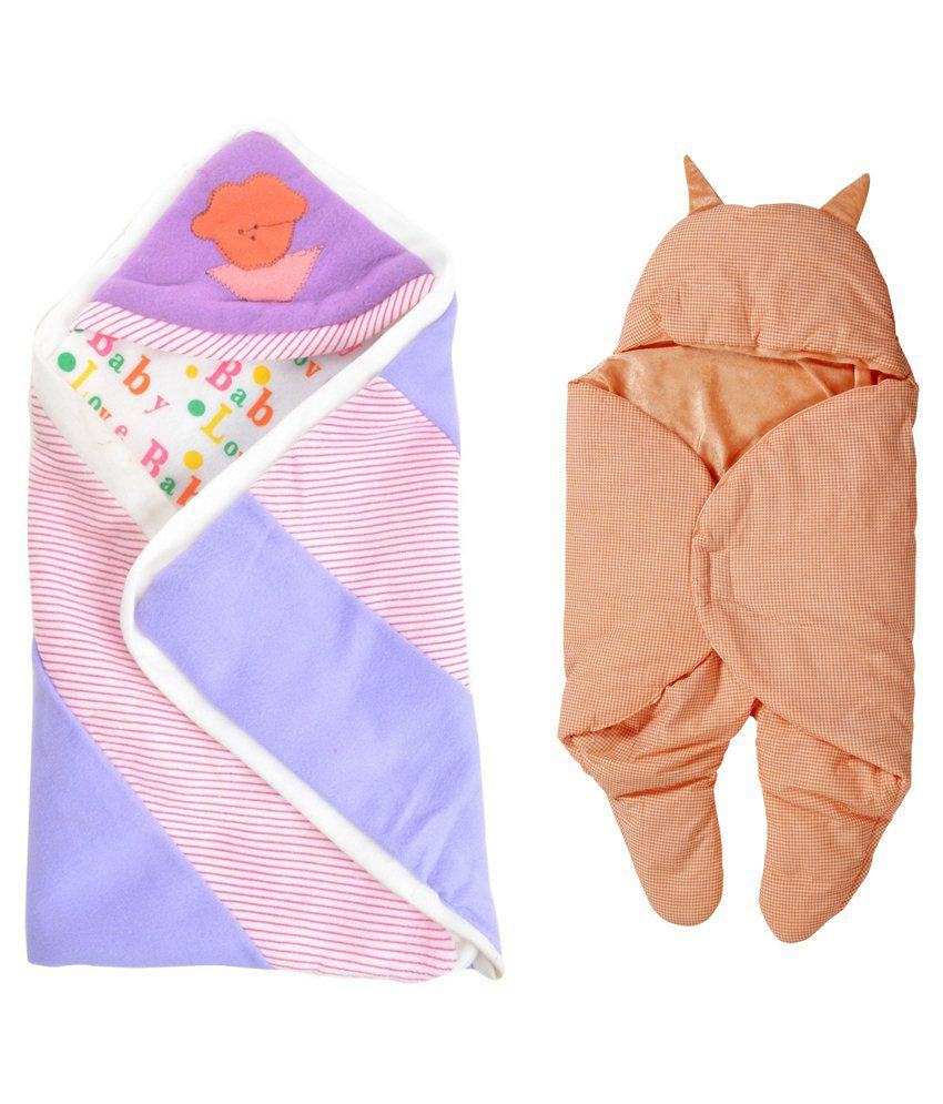 Royal Shri Om Multicolour Polycotton Baby Wrapper For Boy & Girl Pack Of 2
