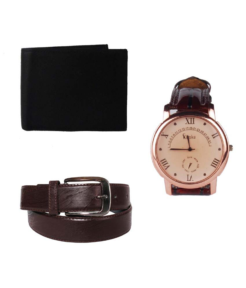 Klaska Combo of Black Leather Wallet, Belt & Wrist watch for Men