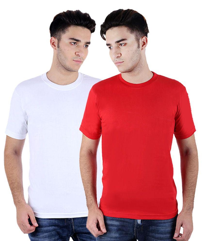 Rakshita's Collection Red And White Round T-shirt Combo