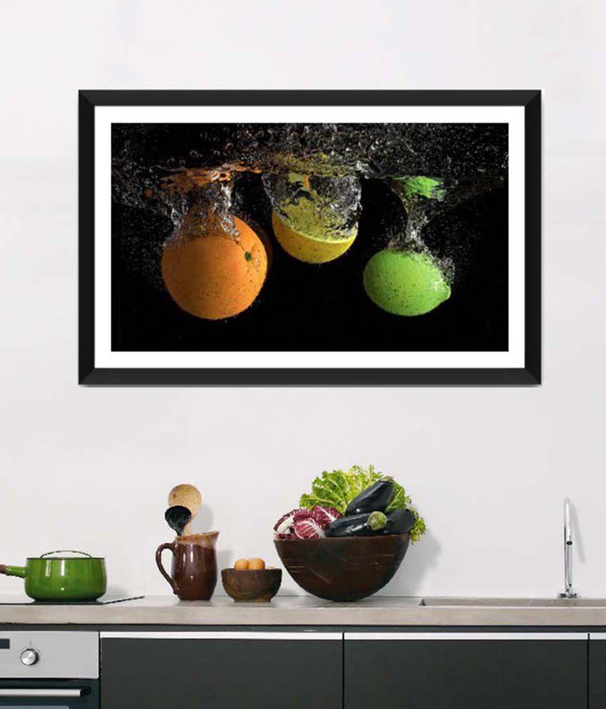 Tallenge Medium Black Art For Kitchen Nutritious Fruit Splash Framed Art Print