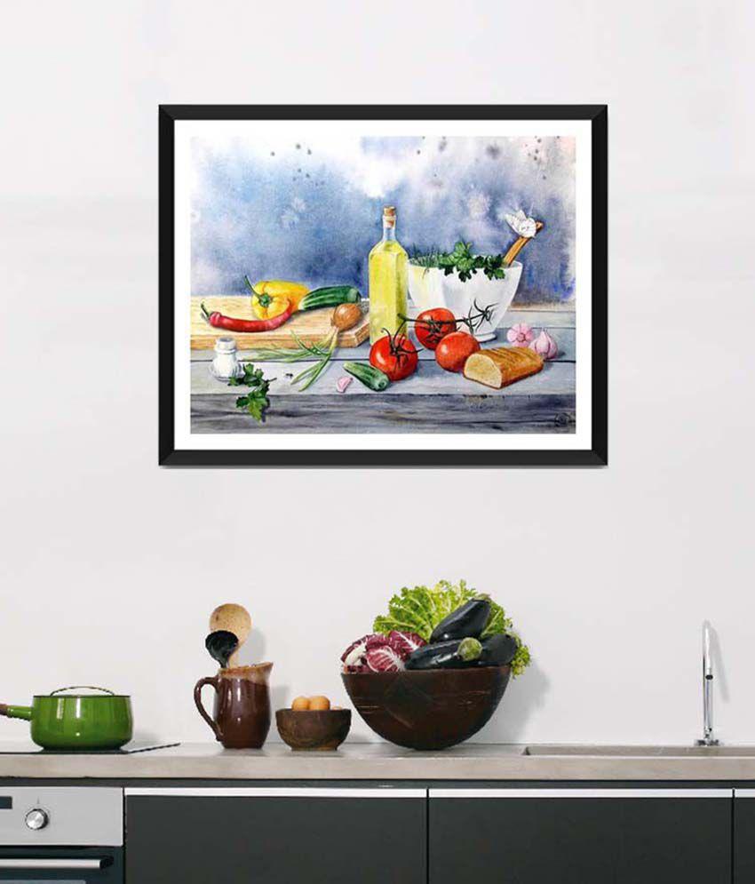 Tallenge Medium Blue Art For Kitchen Fresh Vegetable Garden Framed Art Print