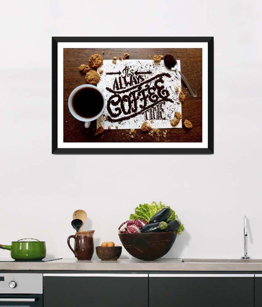 Tallenge Medium Brown Art For Kitchen Coffee Break Framed Art Print