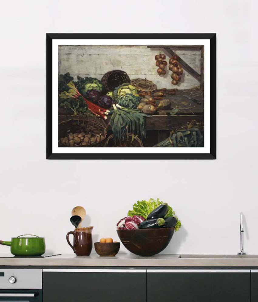 Tallenge Medium Brown Art For Kitchen The Vegetable Stall Framed Art Print