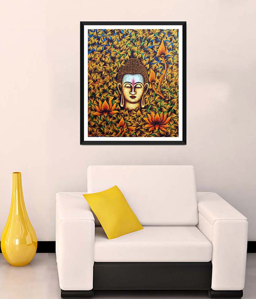 Tallenge Medium Brown Buddha With Flowers & Leaves Framed Art Print