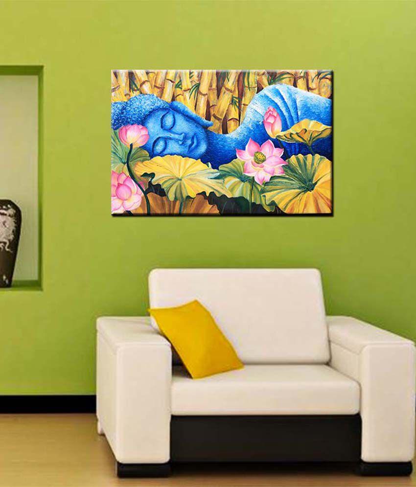 Tallenge Medium Brown Sleeping Buddha Gallery Wrap Canvas Art Print