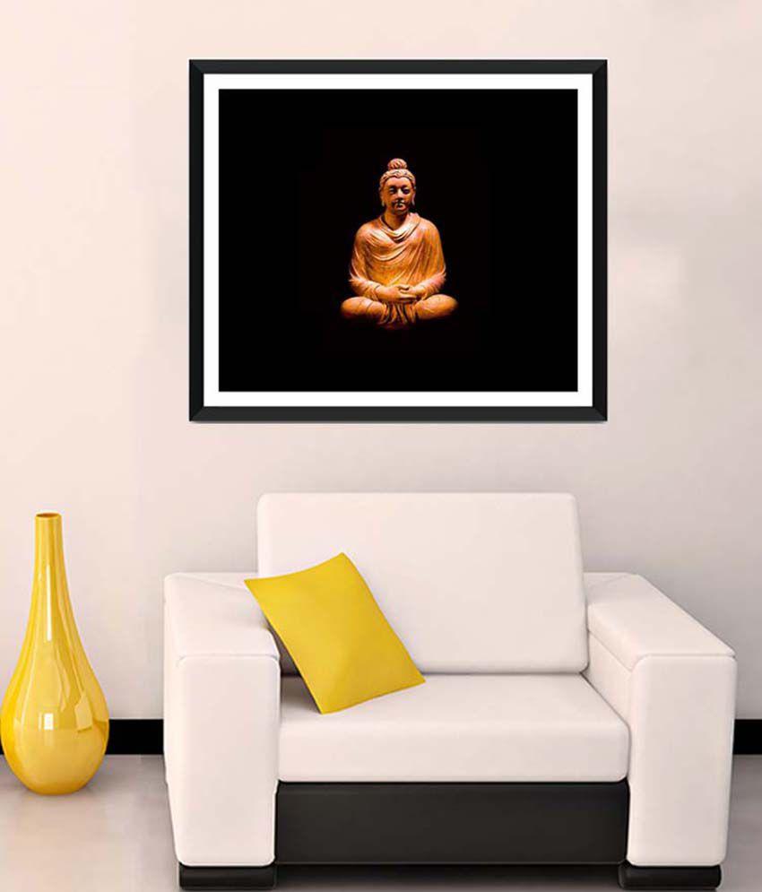 Tallenge Medium Red Gautam Buddha With Dark Background Framed Art Print