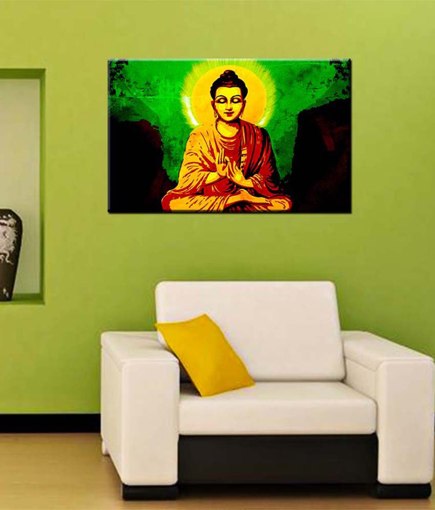 Tallenge Medium Red Gautam Buddha With Green Background Gallery Wrap Canvas Art Print