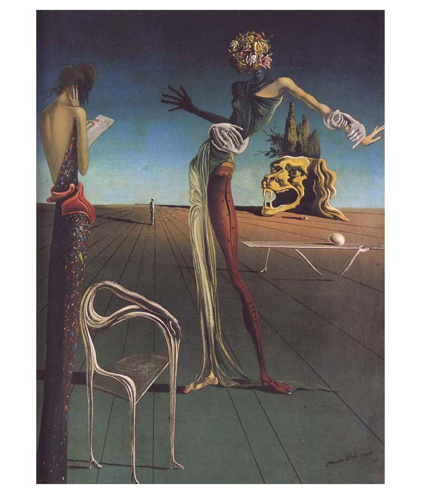 Tallenge Woman With A Head Of Roses By Salvador Dali Gallery Wrap Canvas Art Print