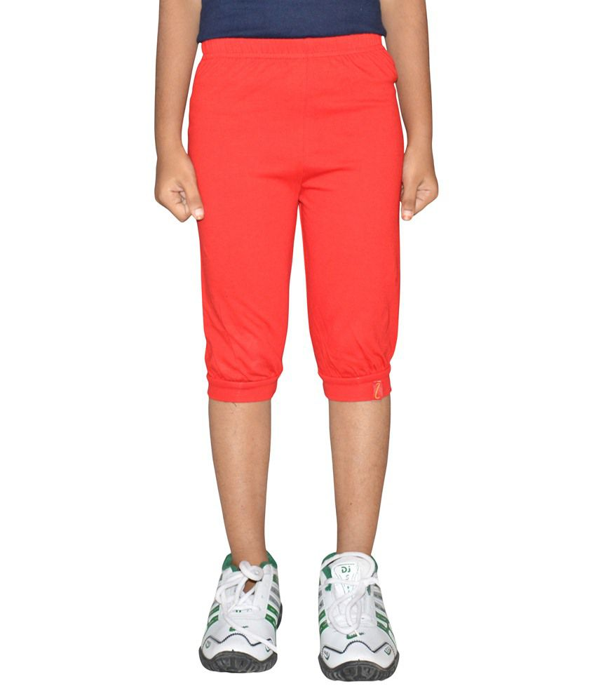 Clever Red Capri For Girls