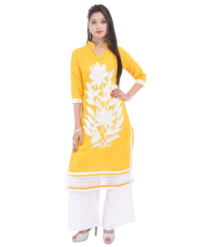 Aawari Yellow Straight Cotton Kurti