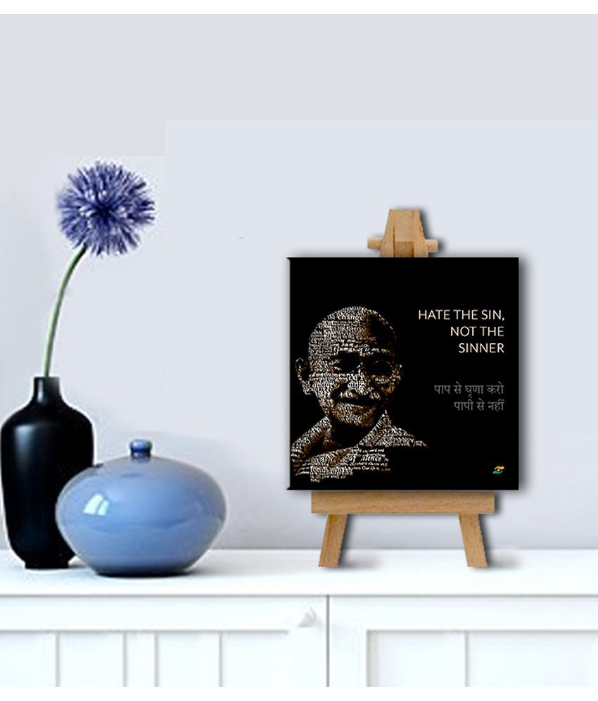 Tallenge Mahatma Gandhi Motivational Quotes In Hindi Hate The Sin, Not The Sinner Gallery Wrap Canvas Art Print With Easel