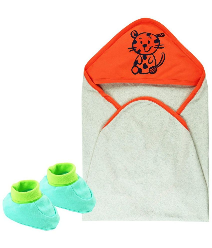 Babyoye Multicolor Cotton Hooded Wrapper And Booties Set For Boy