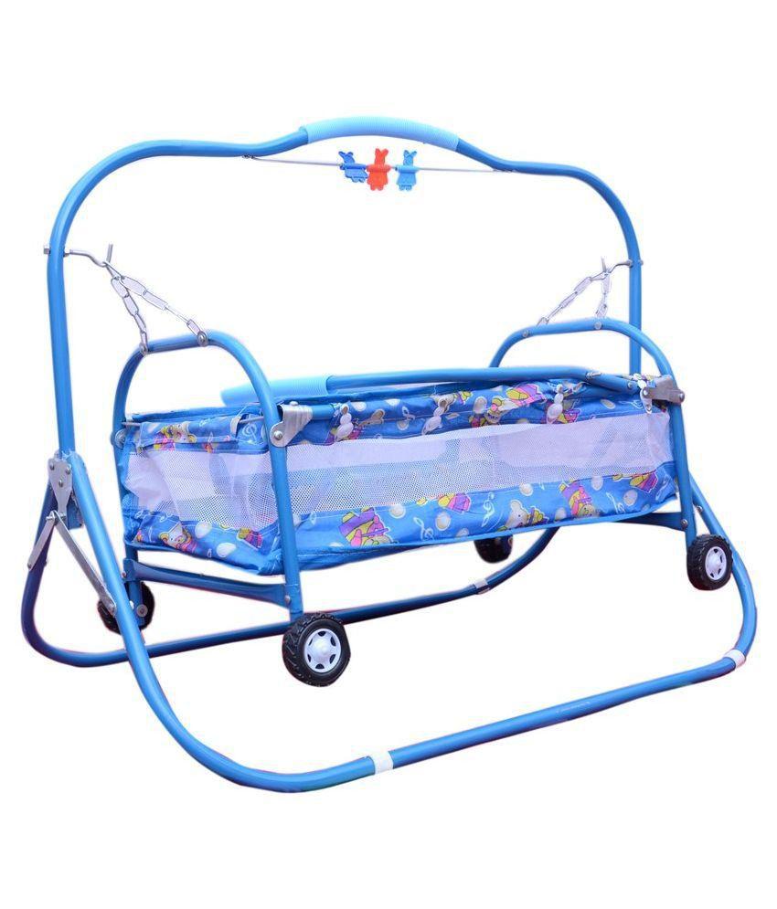 Abasr Blue 6 IN 1 Steel Craft Baby Cradle , Cot , Crib , Bassinet , Stroller and Swing