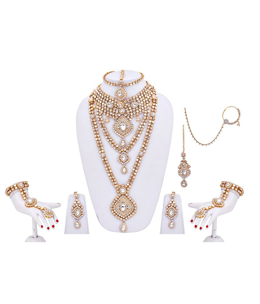 Lucky Jewellery White and Golden Alloy Bridal Necklace Sets