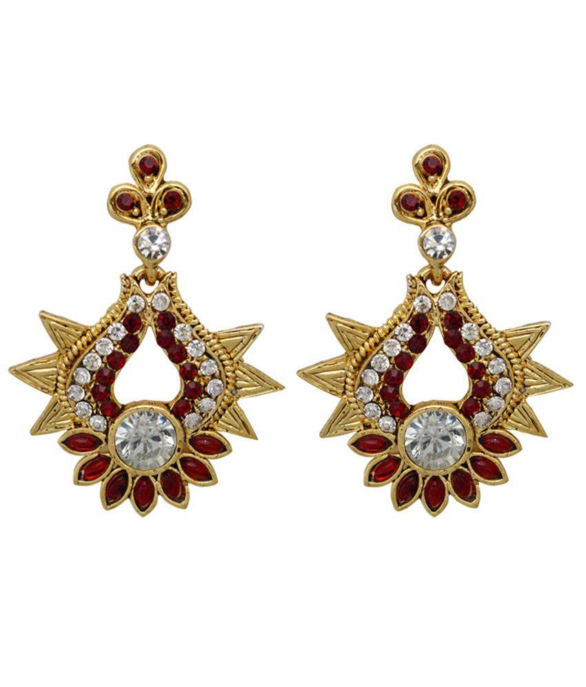 Moshiv Maroon & Golden Alloy Antique Earrings