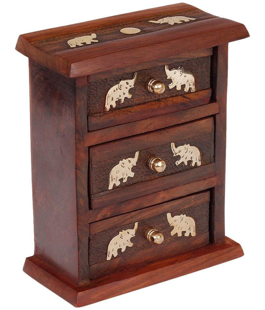 Craft Art India Wooden Small / Mini Almirah / Jewellery / Accessories Organiser With Brass Embossed