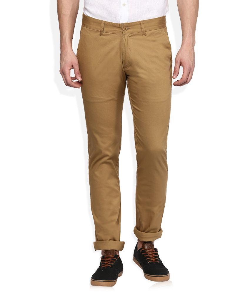 Monte Carlo Khaki Regular Fit Formals Chinos