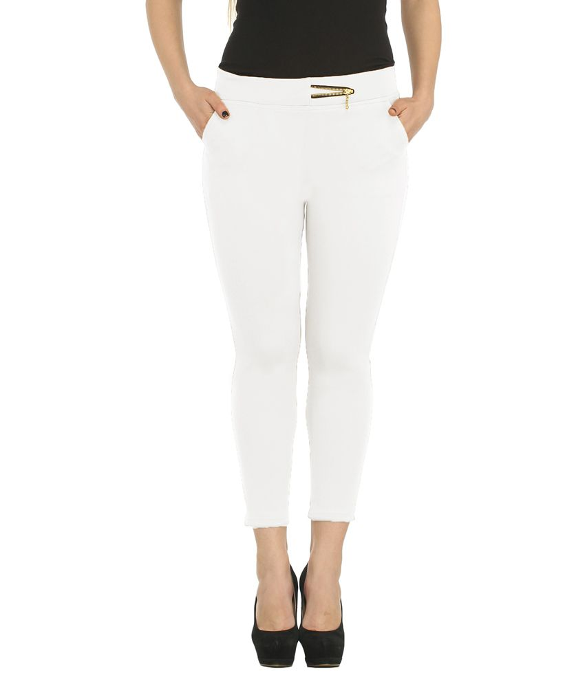 db4c54bddbc480 Buy Skylink White Polyester Treggings Online at Best Prices in India -  Snapdeal