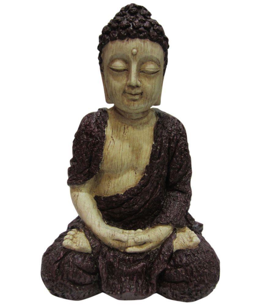 Earth Brown Resin Bark Buddha Sitting Meditation Statues