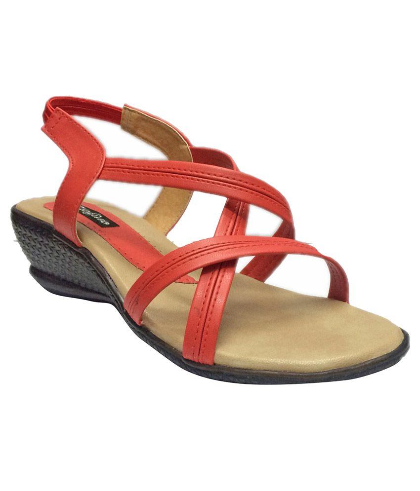 Stefino Red Wedges Heels