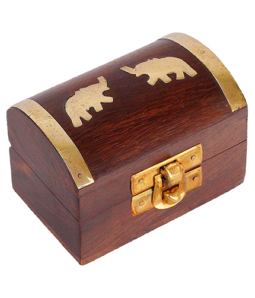 Craft Art India Handmade Wooden Jewellery Storage Box With Embossed Brass Elephant
