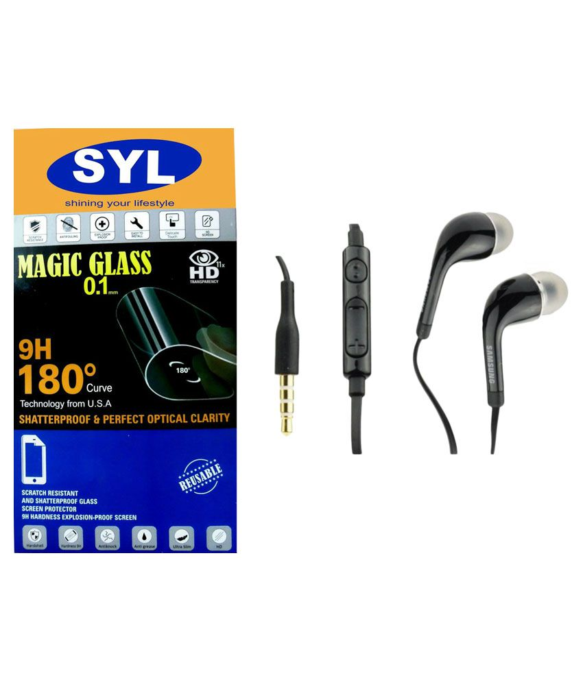 Lenovo A5000 Tempered Glass Screen Guard with Earphones by SYL