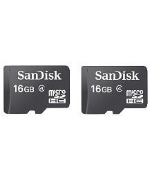Sandisk 16gb Class 4 Memory Card Black - Pack Of 2