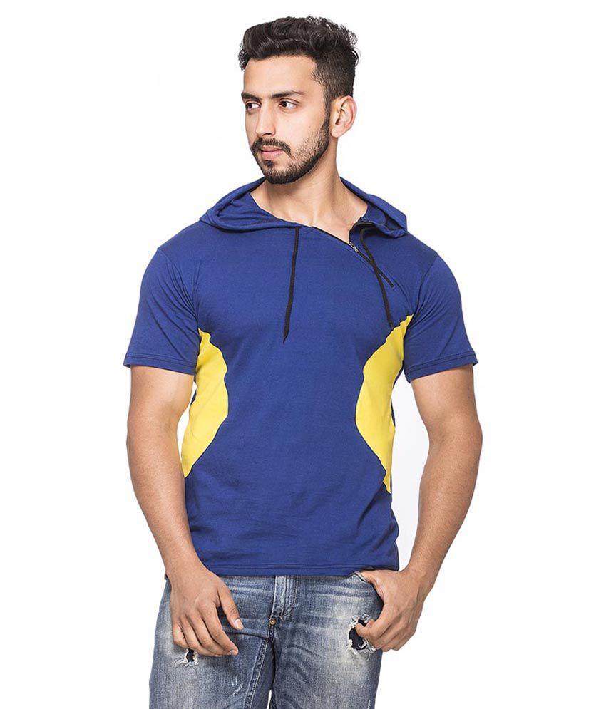Demokrazy Blue Cotton Blend T - Shirt