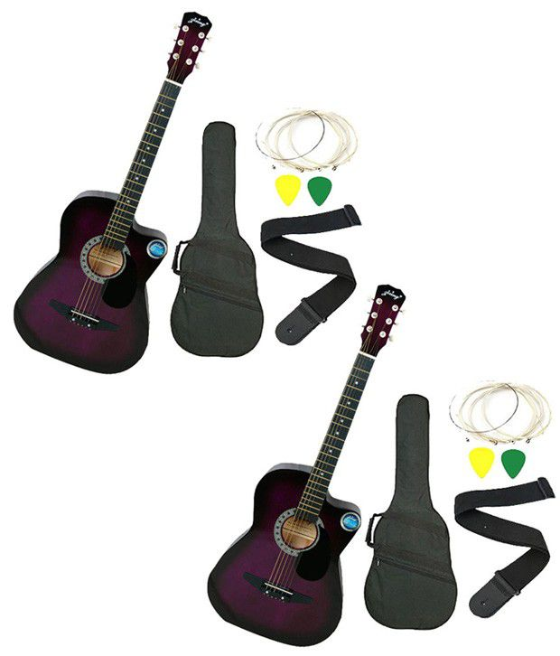 Jixing Purple Acoustic Guitar with Bag, Strings, Pick & Strap - Set of 2