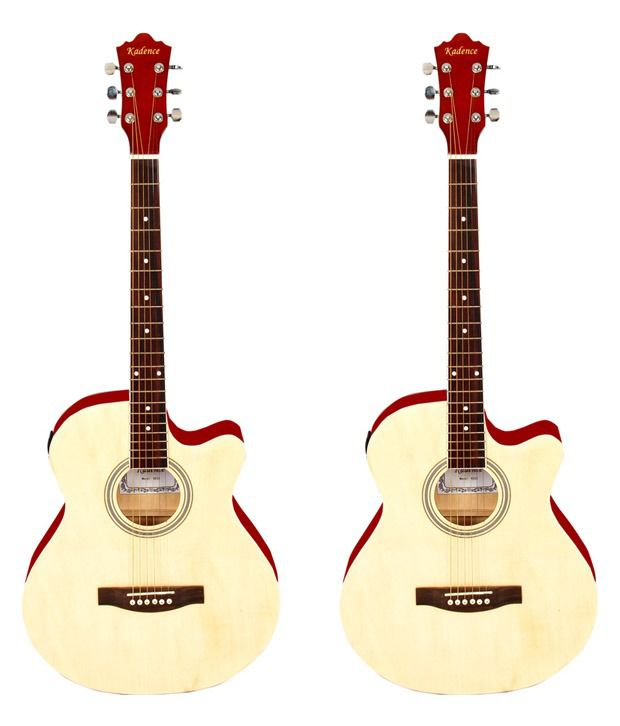 Kadence 39 Inch Pro Natural Spruce Wood Acoustic Guitar W/Eq (Multicolour) - Set of 2