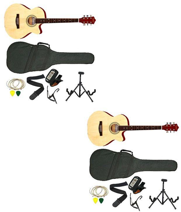 Kadence Glossy Beige Acoustic Guitar - Set of 2