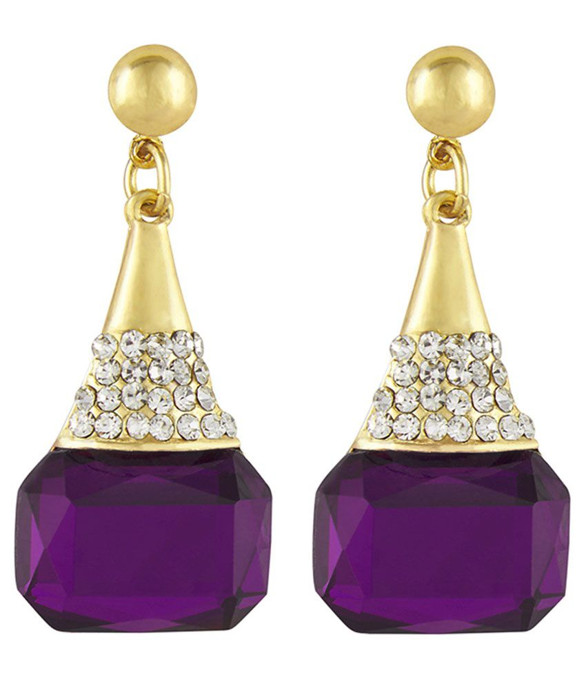 Shining Jewel Golden Brass Hanging Earrings