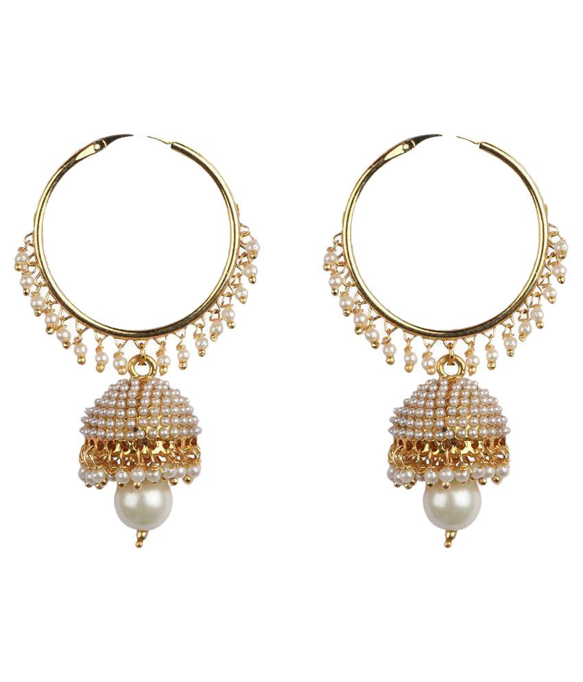 Aashvi Creation White Alloy Jhumkis Earring