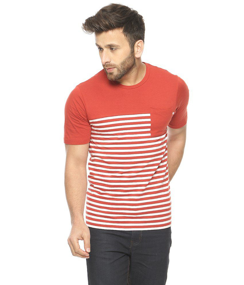 Gritstones Red & White Round Neck T-Shirt
