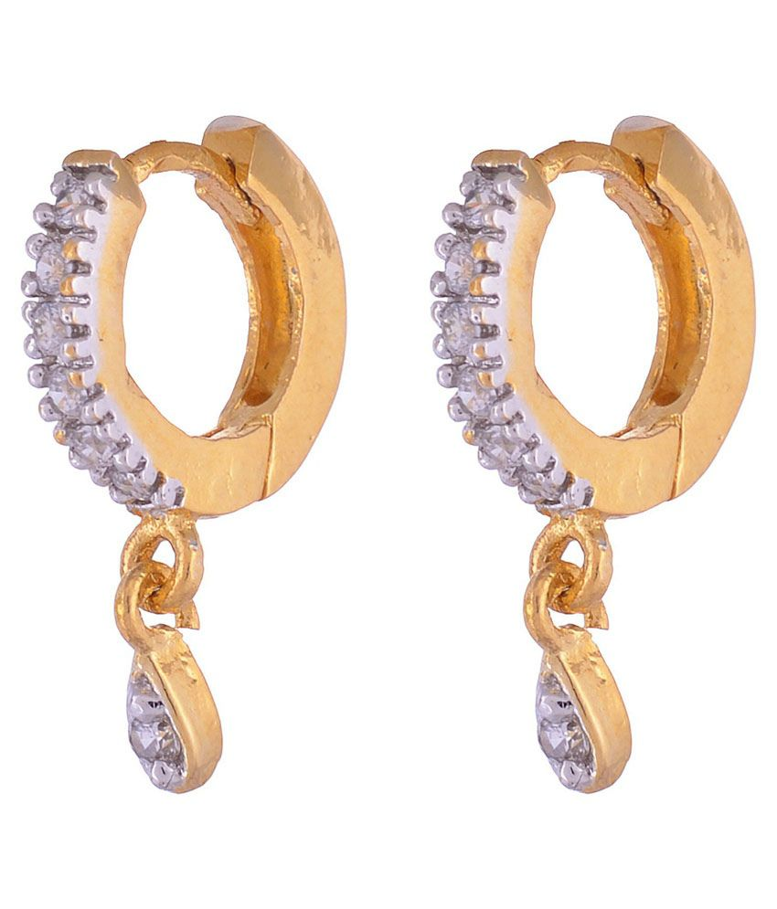 Vama Collections One Gram Gold Plated Cubic Zirconia Bali Earrings For Women