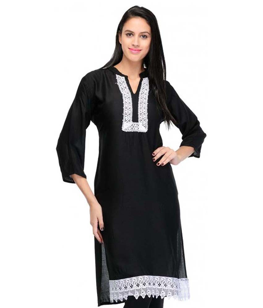 creative fashion Black Cotton Kurti