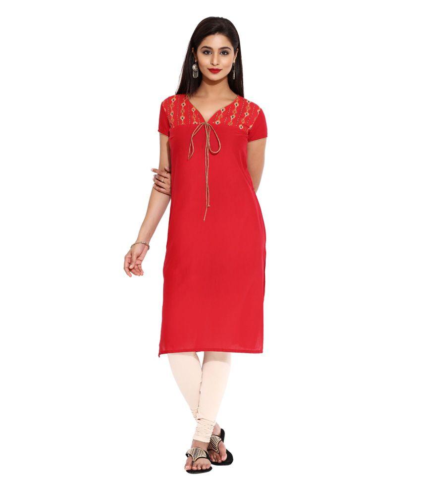 Aaboli Red Straight Cotton Kurti