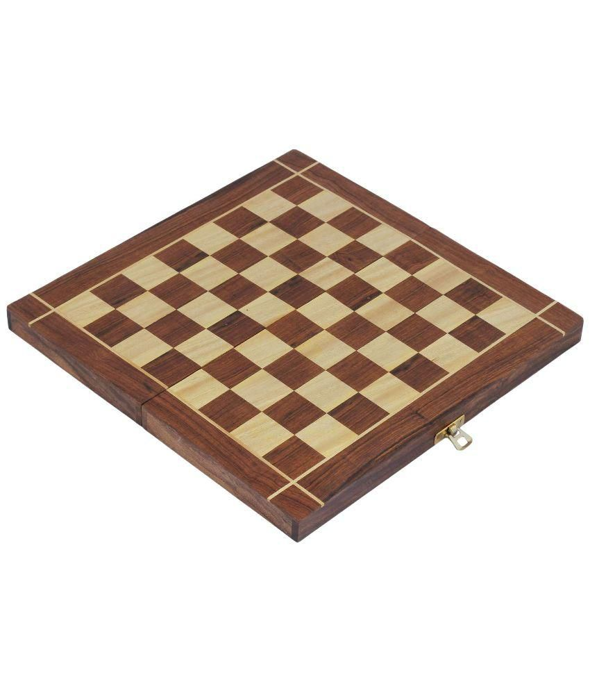Craft Art India Wooden Folding Non-Magnetic Chess with Storage Of Pieces Set 10 x 10 inches