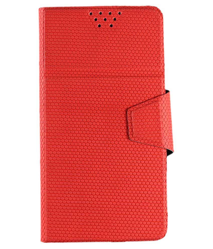 Molife Universal  Flip Cover For Intex Aqua Sense 5.0  - Red