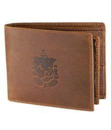 Hidelink Brown Leather Regular Wallet For Men