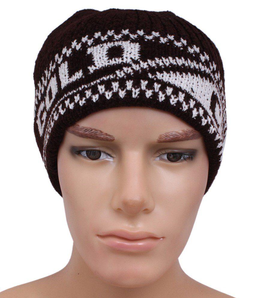 Sushito Brown & White Woolen Cap