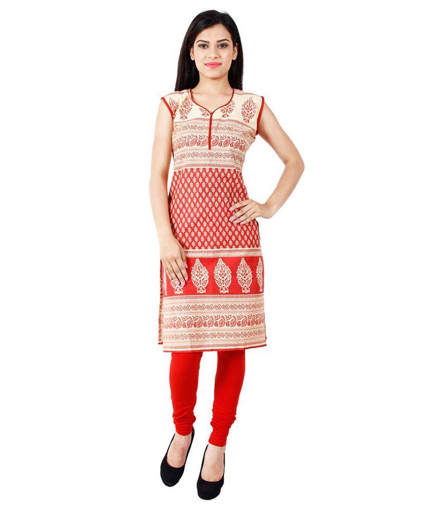 Hi-fashion Red Straight Cotton Kurti