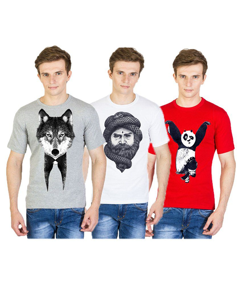 Madink Graphic Printed Round Neck T Shirts Red, White, Grey - Pack of 3