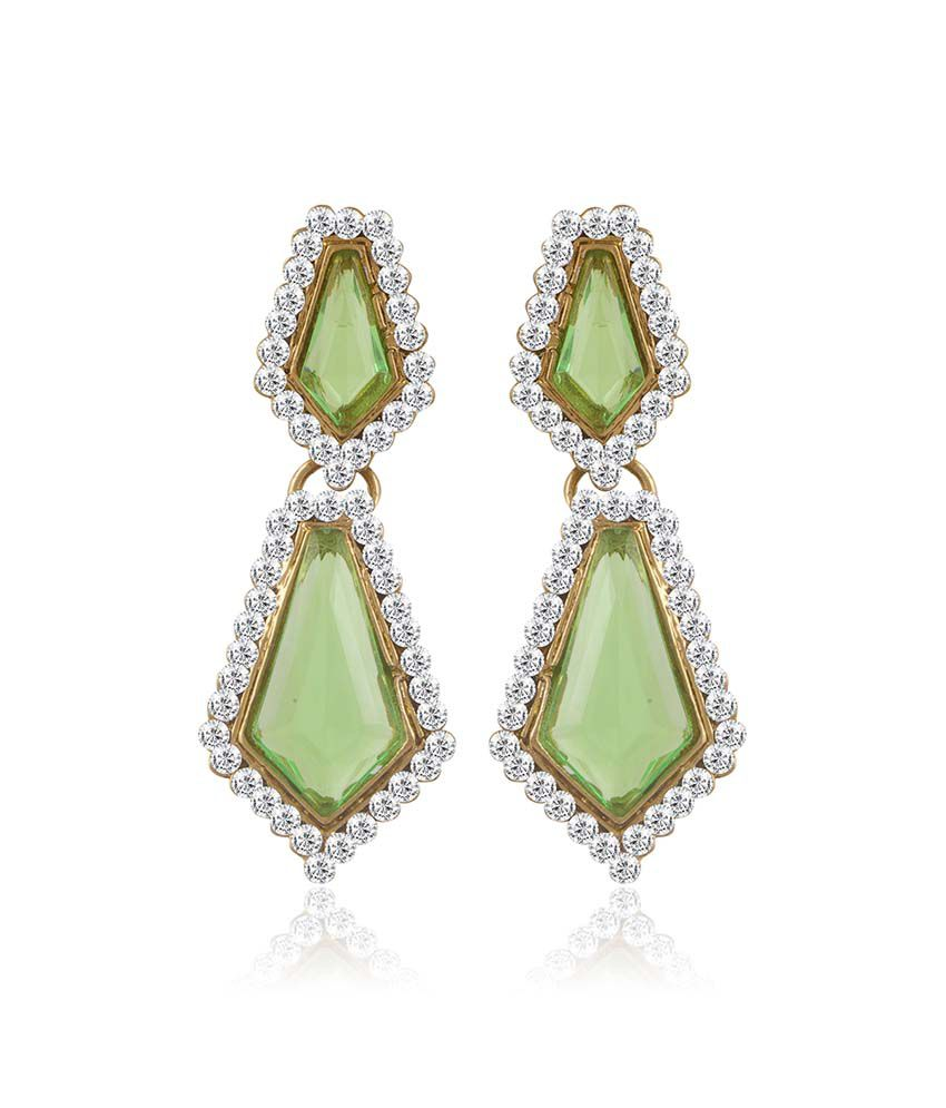 Sukkhi Green Alloy Earrings