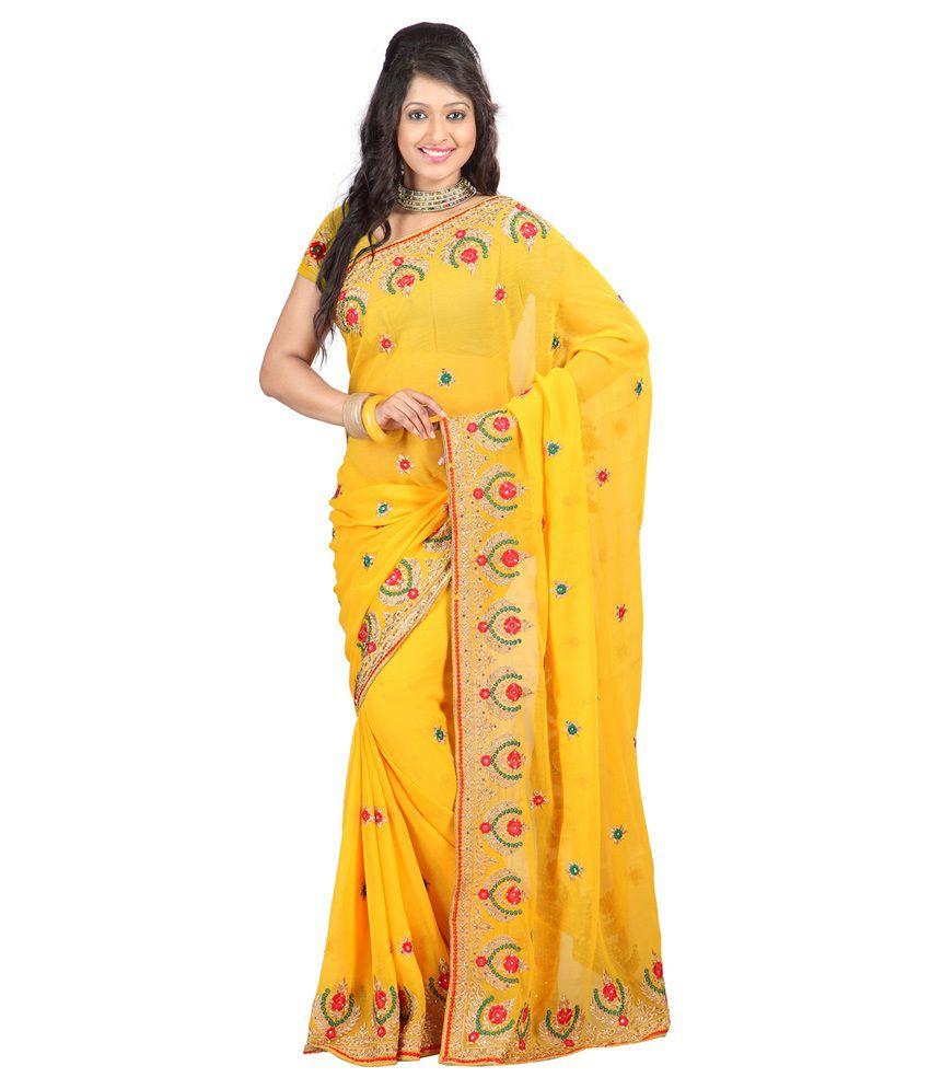 Sixmeter Yellow Pure Chiffon Saree