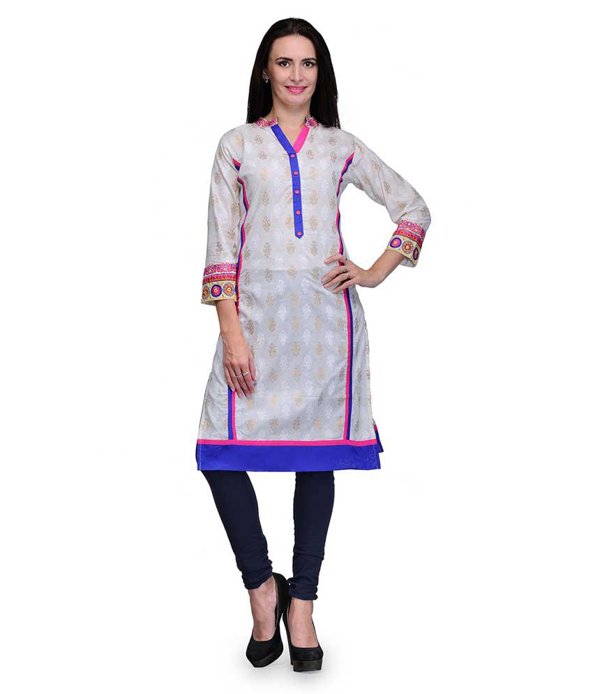 Assemblage Multi Color Straight Cotton Kurti