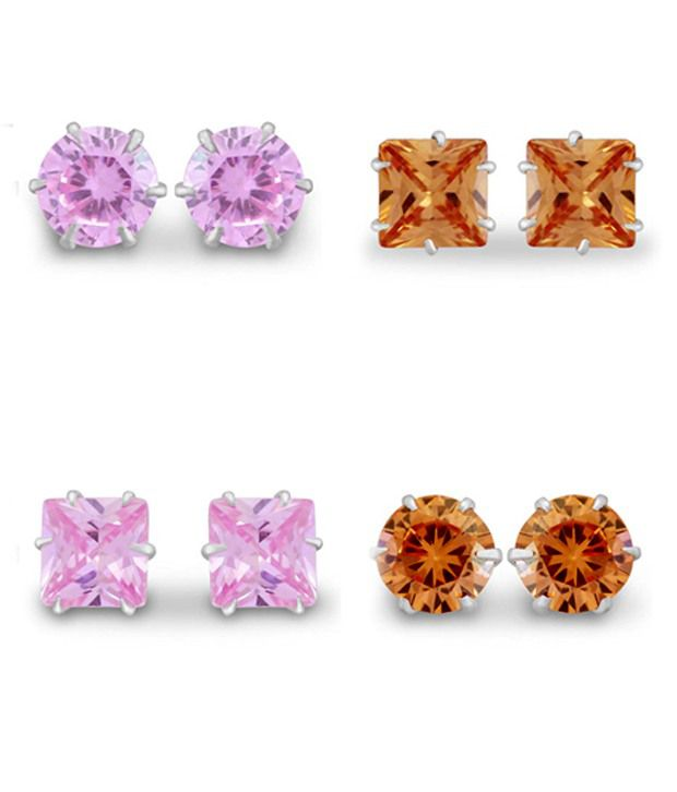 925 Silver 92.5 Sterling Silver Cubic zirconia Earrings Combo - Pack of 4